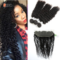 Brazilian Deep Curly 3 Bundles With Frontal Closure Ear To Ear Lace Frontal With Bundles Brazilian Virgin Hair With Lace Frontal