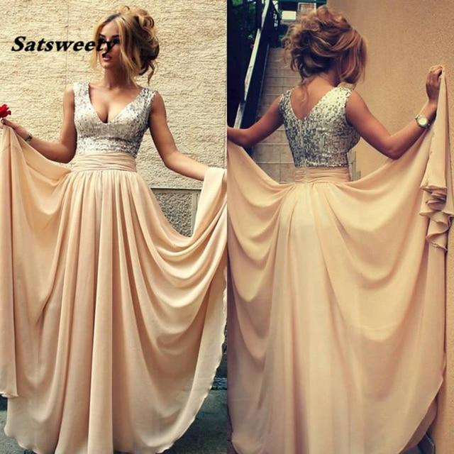2019 Custom robe de soiree Vestidos De Renda Sexy Champagne Sequins Long Prom women elegant party