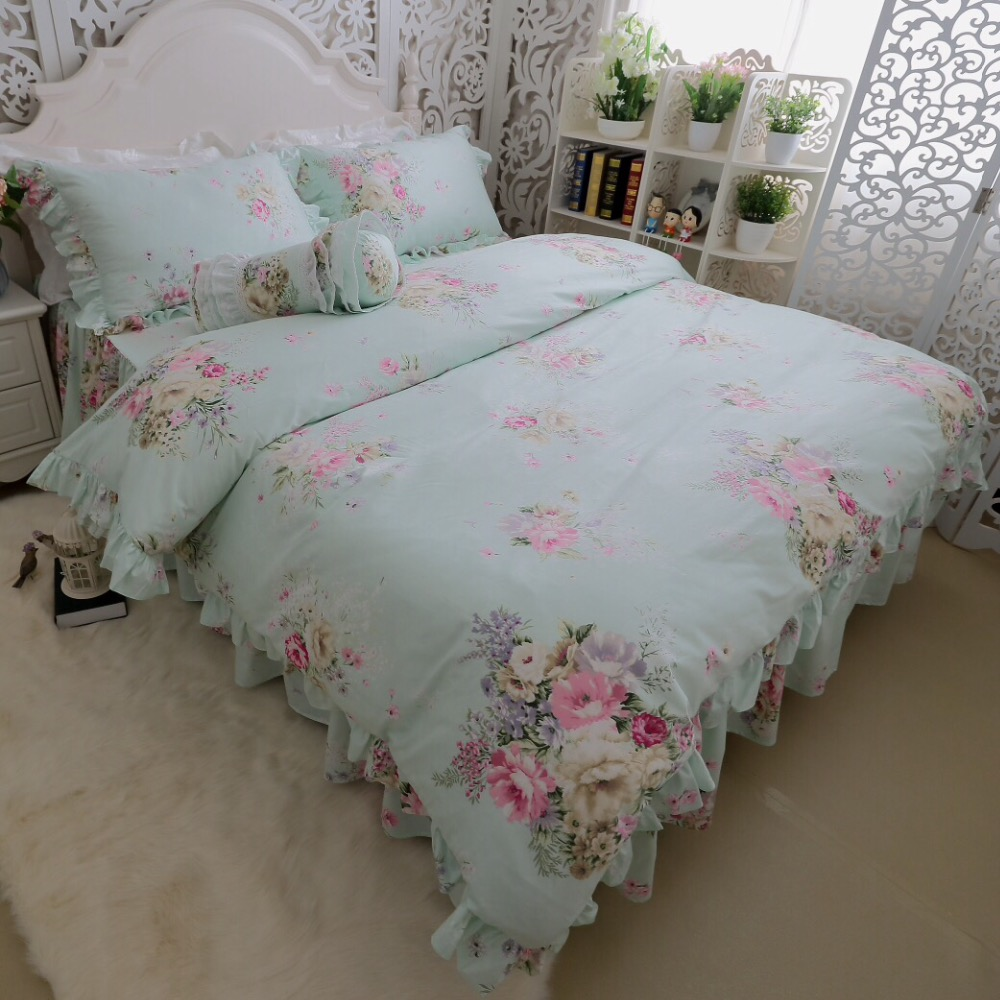 green girl bedding promotionshop for promotional green girl  - light green flower bedding kit pcs dreaming girls home duvet cover setsking queen size cotton bedskirt pillow case bed rug