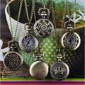 Perfect Gift Hot Fashion Vintage Retro Bronze Quartz Pocket Watch Pendant Chain Necklace Levert Dropship July14P30