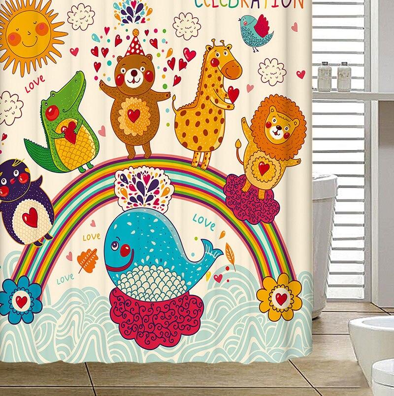 Polyester Rideau De Douche dessin animé Animal épaissir étanche mignon écrans De bain Rideau De Douche salle De bain Rideau rideaux De Douche