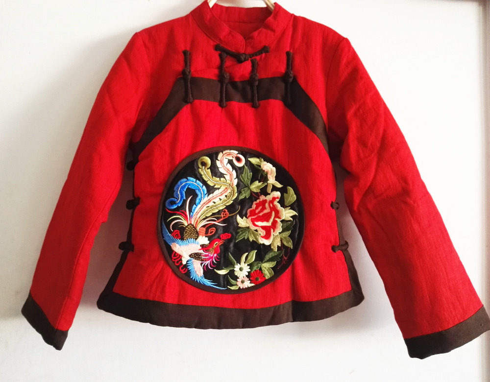 Chinoiserie Women s Cotton Padded Jacket retro frog embroidery Cotton Coat Female Slim Ladies Jackets Coats