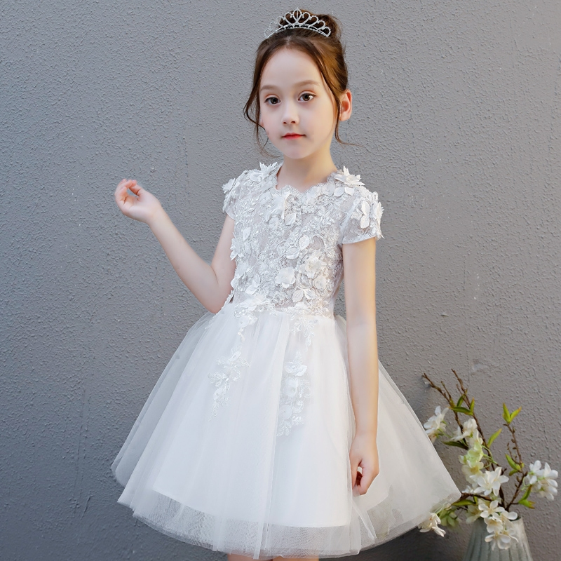 Fashion Kids Girls Birthday Wedding Party Princess Costume Lace Dress 2018 New Baby Toddler White Embroidery Lace Flowers Dress girls embroidery detail contrast lace hem dress