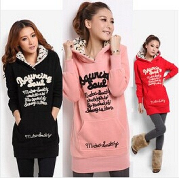 Sports Suit Printed Sweatshirt  Female Medium-long Plus Size Velvet Thickening Women's Hooded Sweatshirt Dress Hoodie Women