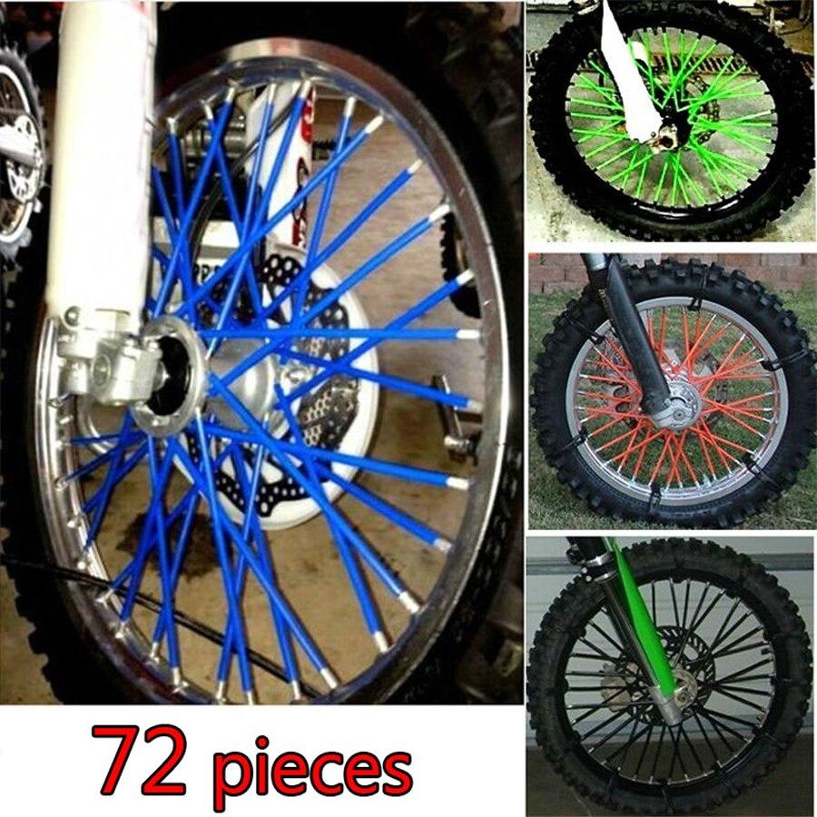 72 pcs Universal Moto Off Road Wheel RIM Spoke Skins covers for ktm XC f DR DRZ RM RMX REMZ 85 125 250 Suzuki Kawasaki Yamaha yz