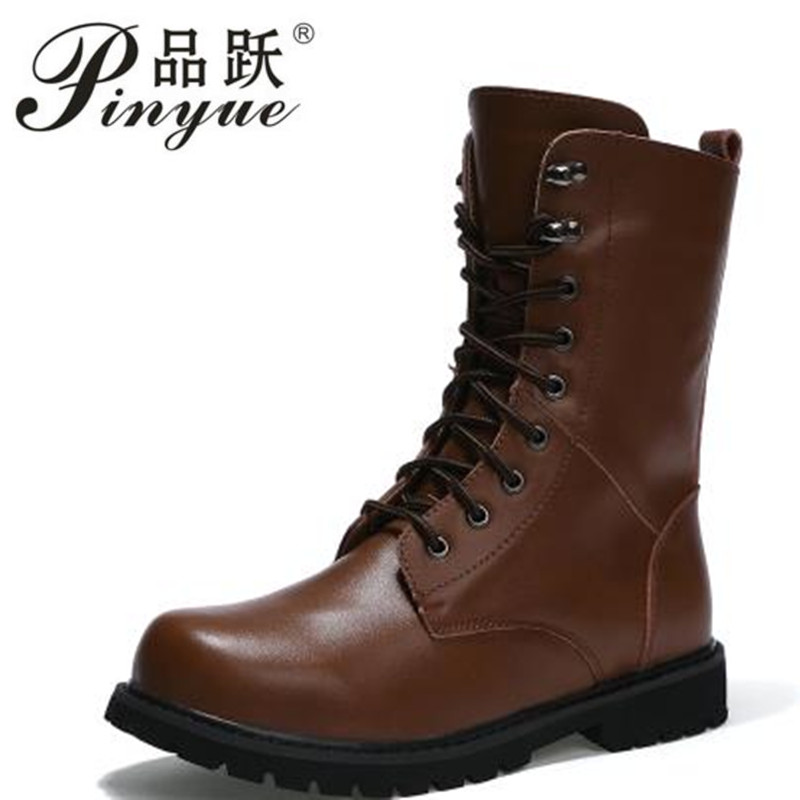 Men s Moto Boots Outdoor Mid calf Army Boots Men s Leather Military Desert Tactical Boot