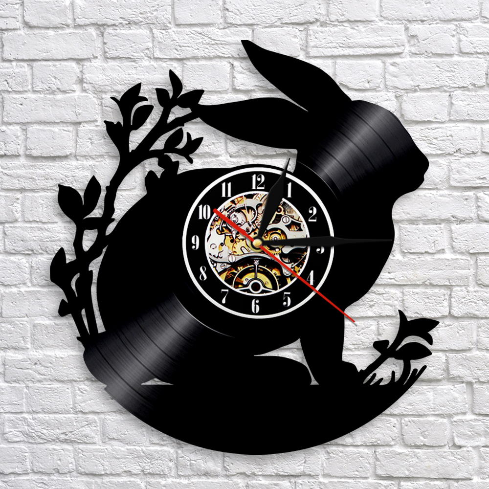 Rabbit Silhouette Wall Clock Cute Bunny Animal Vinyl Clock 3D Wall Watches Clock Nursery Wall Art Decor For Kids' Room
