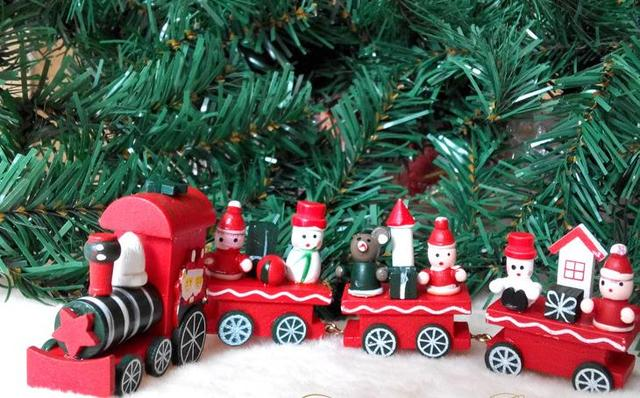 vintage wood train christmas ornaments santa claus dolls decoration