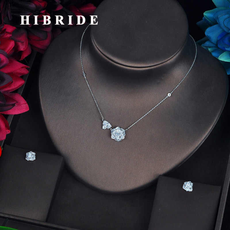 HIBRIDE Classic Flower Pendant Jewelry Sets For Women Dress Accessories Pendientes Luxury Jewelry Set Aretes de mujer N-625