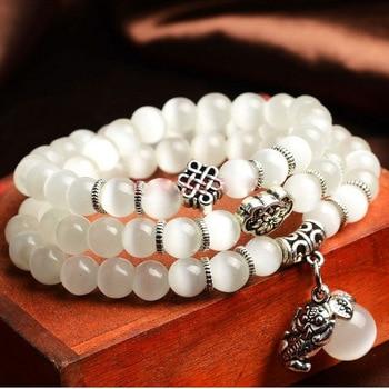 DIEZI Bracelet en pierres d opale naturelles pour femmes Yoga breloque de bouddha courageux Vintage bijoux