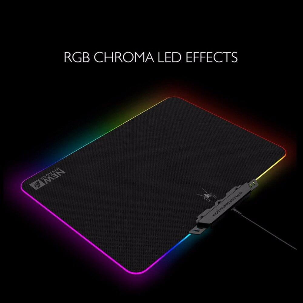 Tapis de souris anti-dérapant pour ordinateur portable tapis de souris coloré RGB LED tapis de souris d'éclairage pour souris Laser optique tapis de souris de jeu confortable - 2