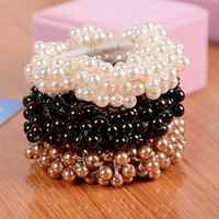 Women Fashion Rope Scrunchie Ponytail Holder Faux Pearl Beads Elastic Hair Bands Hair accessories