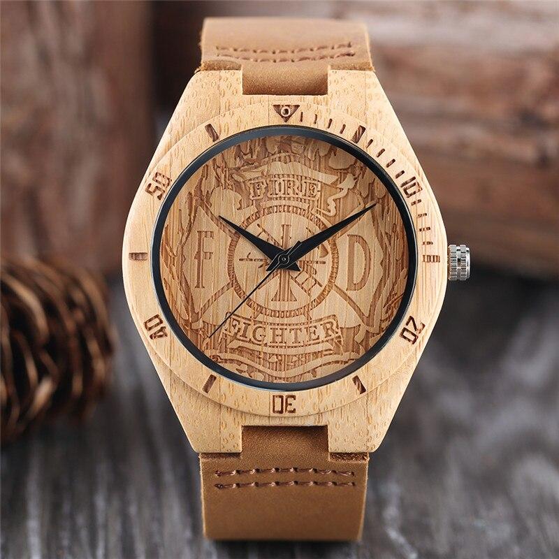 消防士木製時計消火栓彫刻アナログ特別な男性カジュアル竹腕時計全試合学生木製時計ギフトアナログ時計