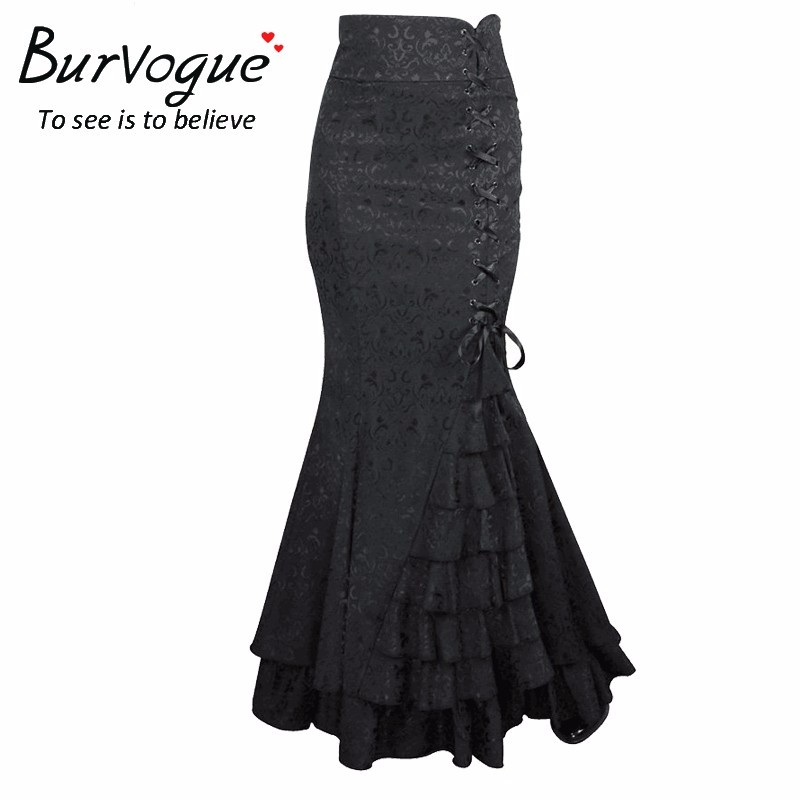 a25f92aa99f Burvogue Steampunk Corset Dress High Waist Long Skirts Waist Control ...
