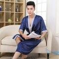 Primavera Verão Outono Dos Homens Chineses de Cetim de Seda Robes Roupão Masculino Adulto Loungewear Homem Roupa de Dormir de Pijama Em Casa Casuais Plus Size 3XL