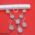 hermosa jewelry new design Romantic and charming pink crystal  925 sterling silver necklace Earring Sets HF11