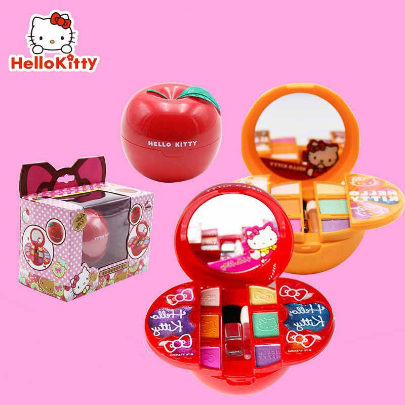 Hellokitty princesa crianças maquiagem cosméticos das meninas crianças brinquedo não-tóxico brinquedo conjunto menina princesa maquiagem mala caixa de aniversário presente