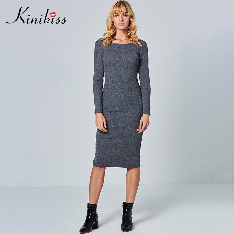 Kinikiss Long Sleeve Knitwear Dress Women 2018 Two Side Wear Grey Bottoming Dress Purple Backless Bodycon