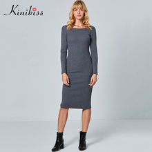 Kinikiss Long Sleeve Knitwear Dress Women 2018 Two Side Wear Grey Bottoming Dress Purple Backless Bodycon Sweater Knitted Dress