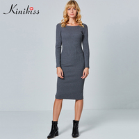 Kinikiss Long Sleeve Knitwear Dress Women 2018 Two Side Wear Grey Bottoming Dress Purple Backless Bodycon