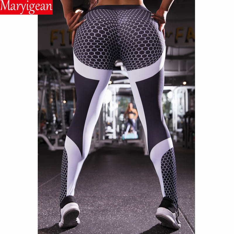 Maryigean Mesh Pattern Print   Leggings   Fitness   Leggings   For Women Sporting Workout Push Up Leggins Elastic Slim High Waist Pants