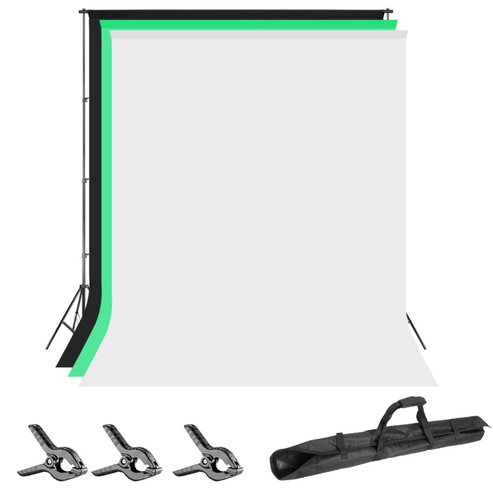 Neewer 6.5x6.5 pieds/2x2 mètres système de Support de Support de fond avec 6X9 pieds/1.8X2.8 mètres toile de fond (blanc/noir/vert)