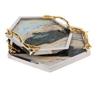 Jewelry Storage Box Tea Tray Glass Plates With Mountain Pattern Serving Tray Gold Edge Gift