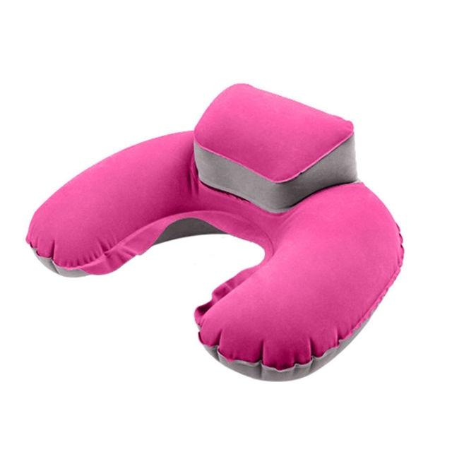 2018 Portátil de Viagem Travesseiro Inflável Pescoço U Forma Blow Up Almofada Do Pescoço PVC Reunindo Travesseiro para o Curso de Vôo Acessórios