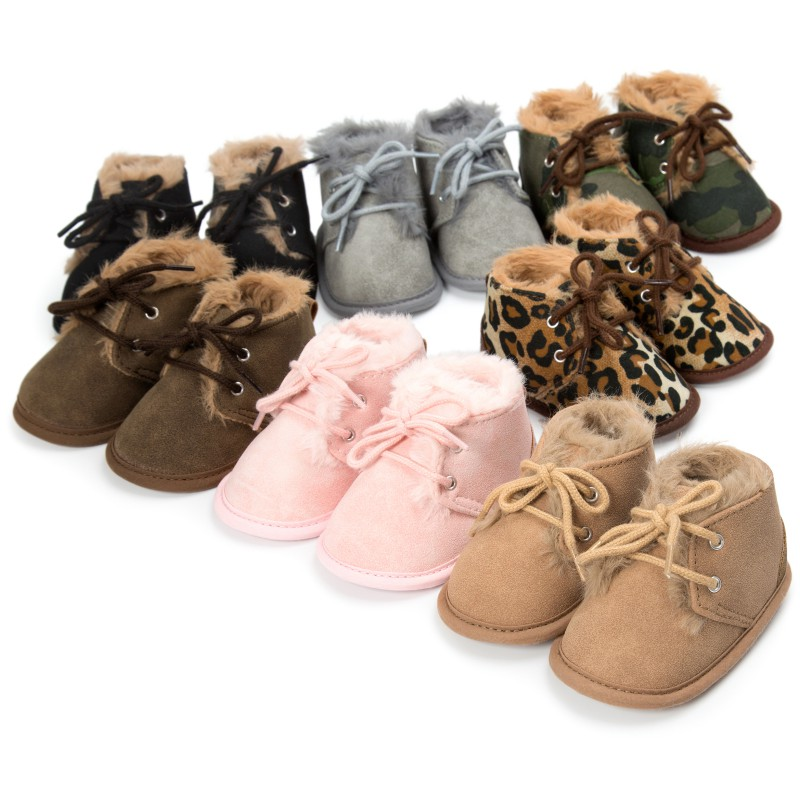 Cute Baby Boys Girls Solid Lace-Up Baby First Walkers Boots Cross-tied Winter Baby Shoes Keep Warm Baby Plush Boots