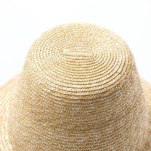 Image 3 - USPOP 2020 yeni kadın yüksek üst hasır şapka doğal buğday samanı güneş şapkası moda yaz kadın plaj şapkası