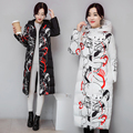 Q-IMAGE New winter coat female Korean long knee still printing Jacket Nagymaros collar down padded weatherization Thicken Parka