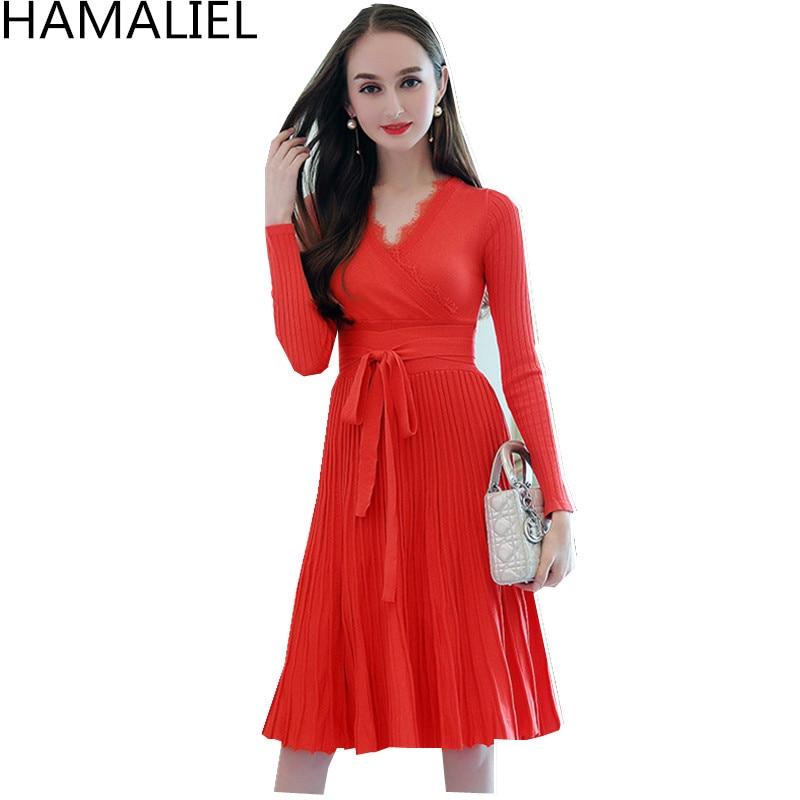 HAMALIEL Women Autumn Winter Knited Dress 2018 Runway Orange Long Sleeve Empire Sexy Lace V Neck Bow Female Pleated Party Dress