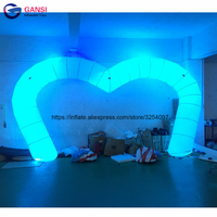 Party decoration christmas lighted archway ,8m heart shaped wedding arch with led light