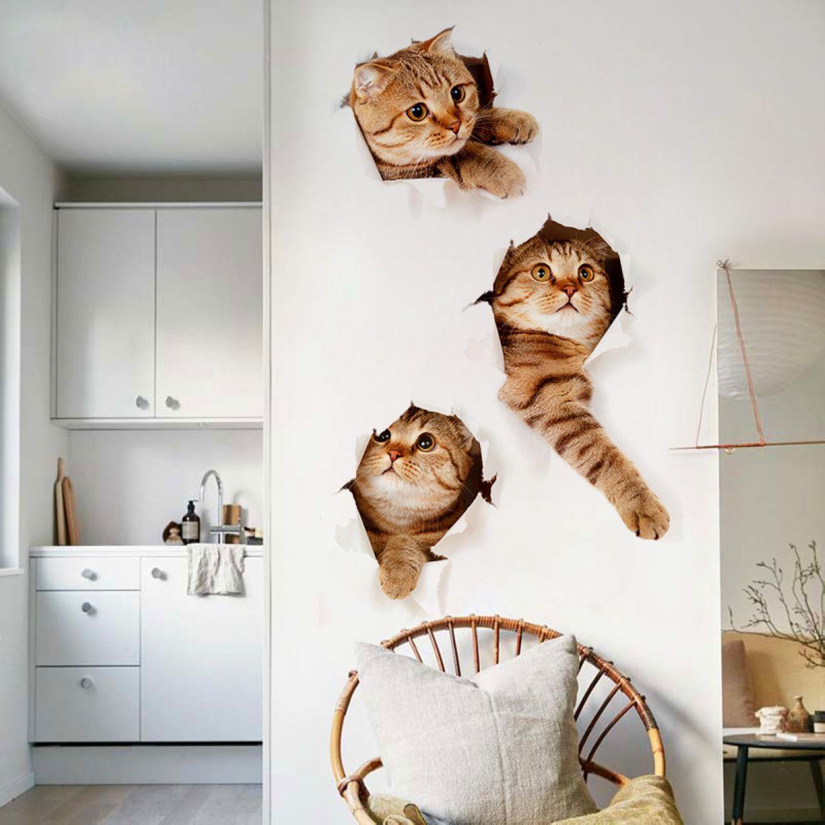 Mayitr Cute Three 3D Kitten Cat Wall Sticker Vinyl Cat Bedroom Fridge Decal  Kid Baby Room