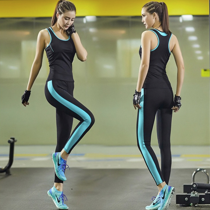 ФОТО 2016 women yoga suit women set sport fitness pants and bra summer style workout sets for running hiking sporty 002