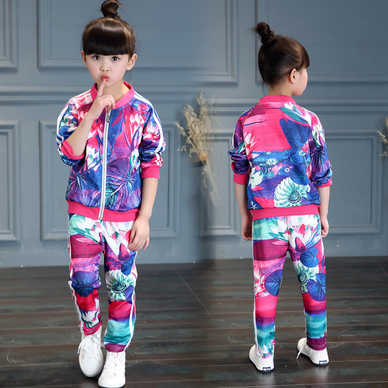 Children Girls Suit Sports Suits Spring Autumn Clothes Set 3D Print Lotus Flower Kids Girl Tracksuits 2 PCS ( Jacket + Pants ) 2017 girls spring flowers suit girls clothes sprot hoodies set children clothing suits hooded jackets pants 2pc suits yl561