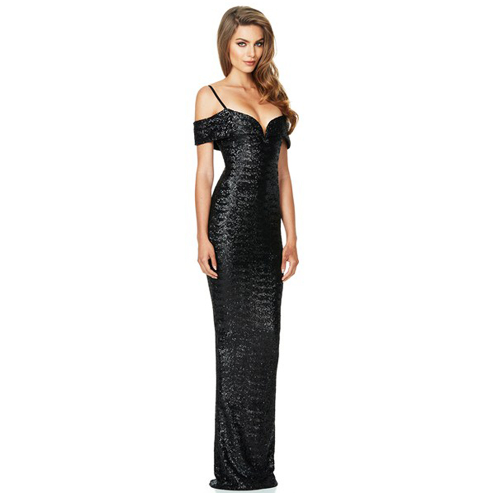 af13ef23 Off Shoulder Gold Black Sequin Dress Bodycon 2018 Summer Sexy V Neck Maxi  Long Dress Women Elegant Evening Party Dresses CLR038-in Dresses from  Women's ...