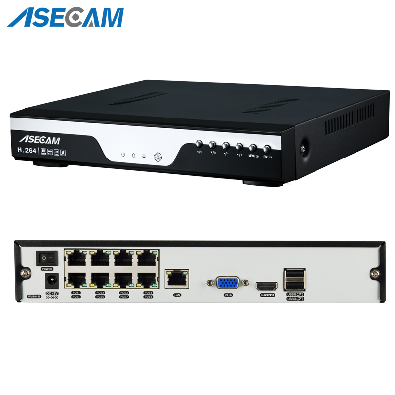 ASECAM 4CH 8CH Full HD 1080P 48V Real PoE NVR All in one Network Video Recorder for PoE IP Cameras Onvif P2P XMeye CCTV System in Surveillance Video Recorder from Security Protection