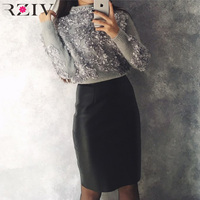 RZIV 2017 Autumn And Winter Women Sweater And Pullovers Leisure Female Flowers Embroidered Patch Knitted Sweater