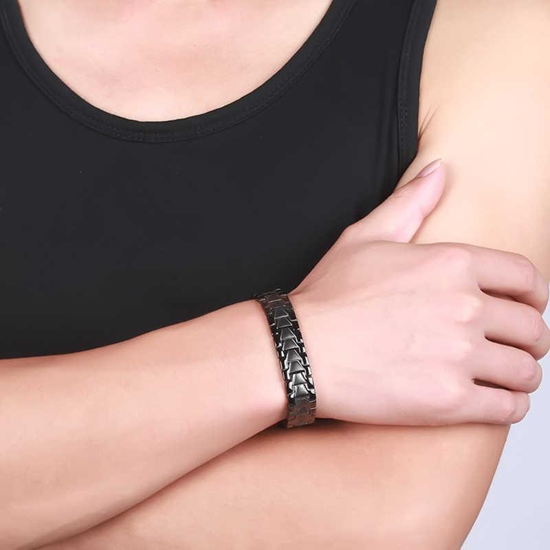 Vinterly שחור מגנטי צמיד זכר בריאות אנרגיה ביו מגנטי טיפול גרמניום נירוסטה צמידי צמידי תכשיטי גברים