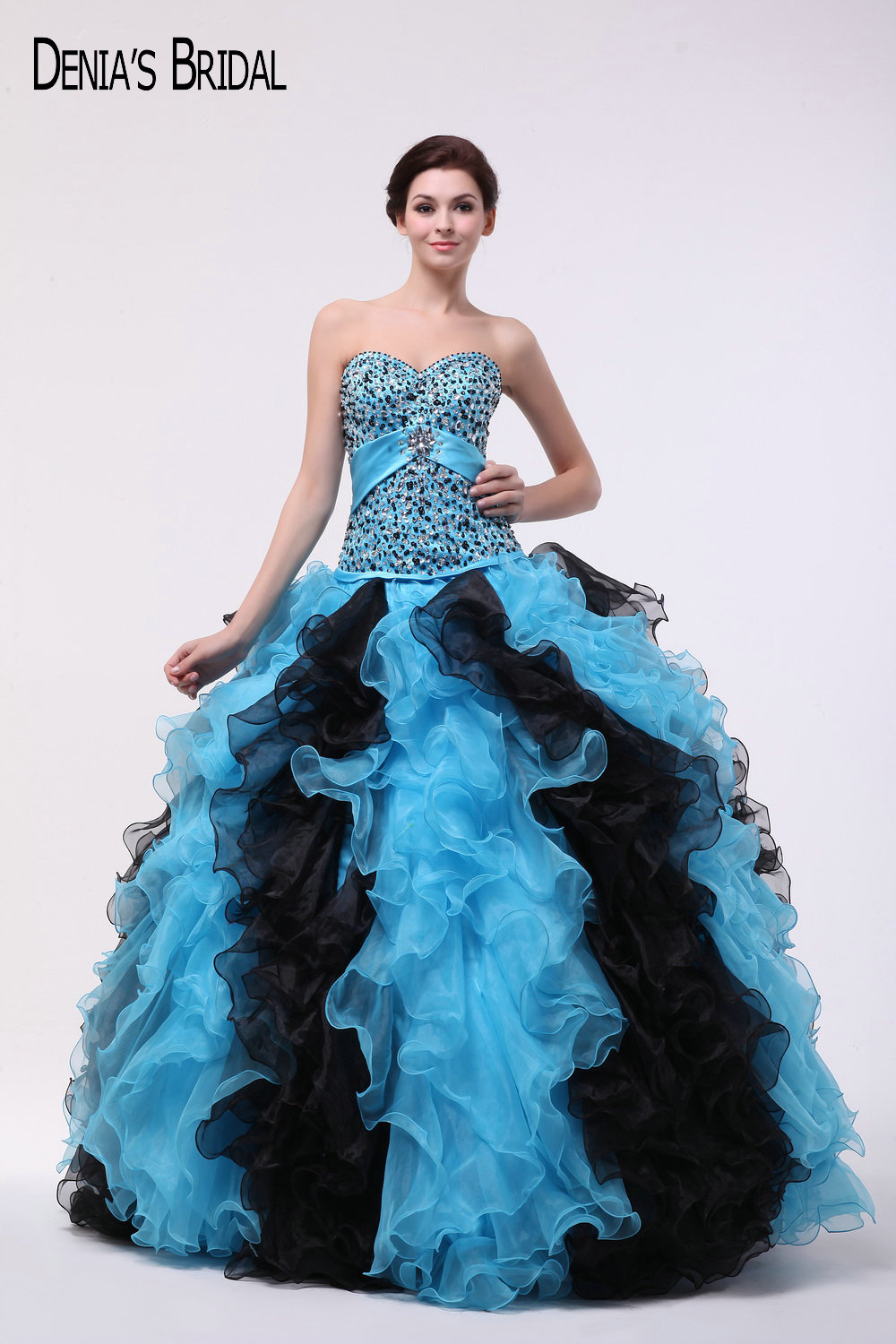 2017 Black and Blue Ball Gown   Evening     Dresses   with Sweetheart Neckline Ruffles Beaded Sequins Floor Length Party Prom Gowns