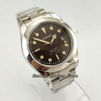 40mm Parnis Steel Coffee Dial Sapphire Glass Green Luminous Automatic Men's Wrist Watch