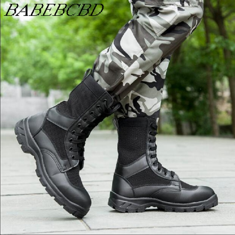 Summer Men Ventilated Mesh Ultra Light Military Boots Special Soldiers Leather Combat Training Tactical Boots Security Shoes On