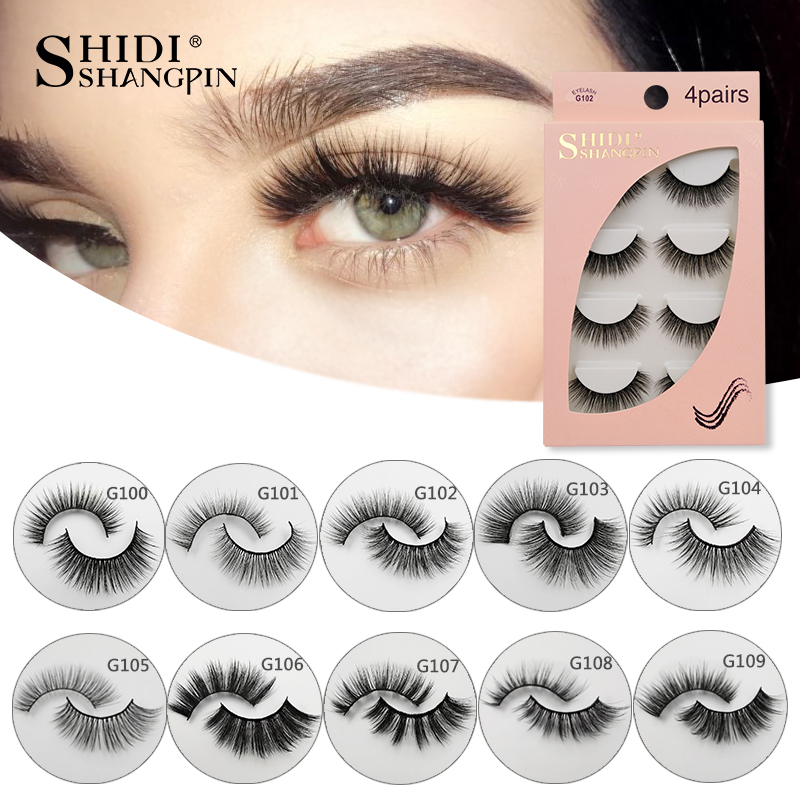 Natrual Long 3D Mink False Eyelashes Wholesale 4 Pairs Fluffy Make Up Full Strip Lashes 3D Mink Lashes Faux Cils Soft Maquiagem