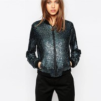 Chic Bomber Sequins Baseball Coat Sequined Uniform Zipper Jacket Casual Long sleeved Coat High Waist Stage Show Outwear Clothing
