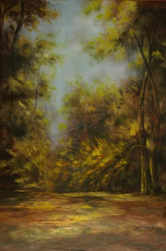 10x20ft 100% coton peint à la main arbres forestiers fond de toile de fond scénique mousseline, arrière-plans de mariage fantaisie pour studio photo