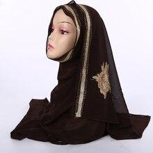 New Embroidery Muslim Hijab Turban Woman hijab Solid Color Rhinestone Decoration Sequins Chiffon Popular Shawls Scarf Headband
