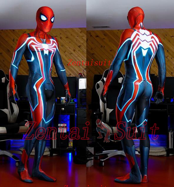 US $63 61 9% OFF| Newest Spiderman PS4 Velocity Costume Spidey Cosplay  Halloween Spider man Costumes For Adult/Kids /Custom Made Free Shipping-in