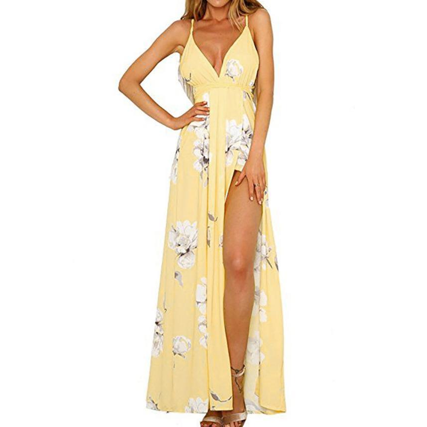 bcfa8d1d1d1 Спинки boho с цветочным принтом длинное платье Для женщин sexy Глубокий v  шеи шифон летнее платье