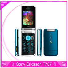 Оригинал восстановленное sony ericsson t707 мобильный телефон разблокирован флип 3 г смартфон t707 зеленый и подарок один год гарантии